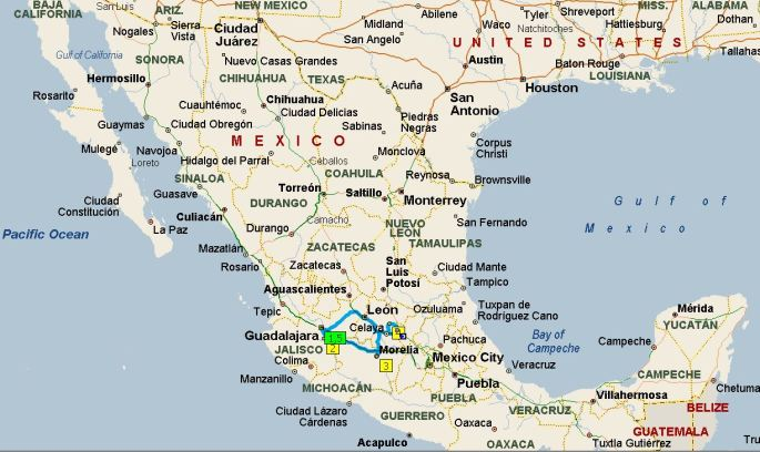 Mexico trip map